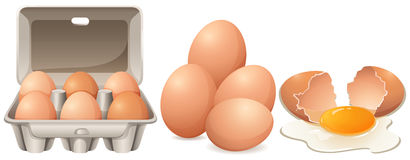Eieren in kartondoos en gebarsten ei Stock Afbeelding