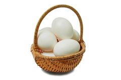 Eieren in mand Stock Fotografie
