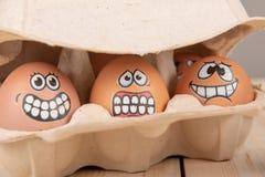 Eieren met gezichten stock fotografie