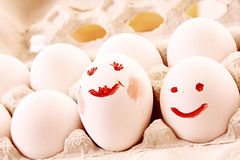 Eieren met glimlach Stock Fotografie