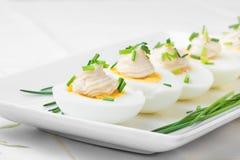 Eieren met Mayonaise worden gekookt die royalty-vrije stock fotografie