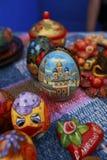 Eieren met met de hand geschilderd Stock Fotografie