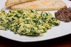 Eieren met spinazie stock afbeelding