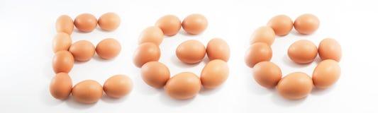 Eieren met woord Royalty-vrije Stock Afbeelding