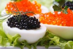Eieren met zwarte en rode vissenkaviaar en sla royalty-vrije stock foto