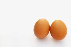 Eieren, nadruk bij twee eieren op witte achtergrond Royalty-vrije Stock Fotografie