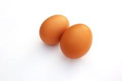 Eieren, nadruk bij twee eieren op witte achtergrond Stock Afbeeldingen