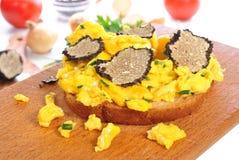 Eieren op brood met geraspte de zomertruffel Royalty-vrije Stock Afbeeldingen