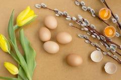 Eieren op de lijst Royalty-vrije Stock Foto's