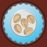 Eieren op een blauwe plaat Royalty-vrije Stock Afbeeldingen