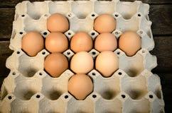 Eieren op een dienblad worden opgemaakt dat Royalty-vrije Stock Foto's