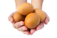 Eieren op hand Stock Afbeelding