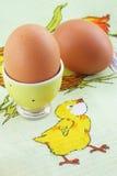 Eieren op het tafelkleed Royalty-vrije Stock Afbeelding