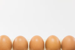 Eieren op witte achtergrond Stock Afbeeldingen