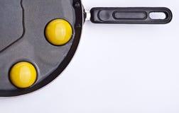 Eieren in Pan Stock Afbeeldingen