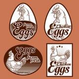 Eieren uitstekende etiketten Royalty-vrije Stock Foto's