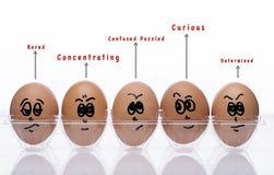 Eierenstijl met emotionele teksten Stock Afbeeldingen