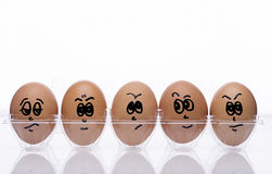 Eierenstijl met emotionele teksten Stock Foto