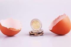 Eierschale und Geld Stockfotografie