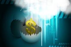 Eierschalen mit Dollar Stockfotografie