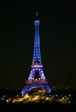 Eifel Kontrollturm in der Nacht Lizenzfreie Stockfotos