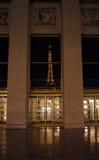 Eifel Kontrollturmreflexion nachts Lizenzfreies Stockfoto