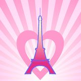Eifel Tower. With the fireworks and the hearts Stock Images