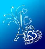 Eifel Tower. With the fireworks and the hearts Royalty Free Stock Photo