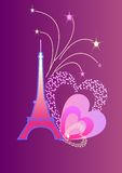 Eifel Tower. With the fireworks and the hearts Royalty Free Stock Image