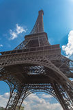 Eifel tower bottom view with cloud sky on background in spring Stock Images