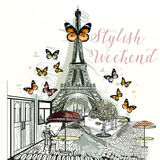 Eifel tower with cafe hand drawn illustration Royalty Free Stock Photos
