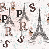 Eifel tower, letters, dandelions and flowers Stock Photography
