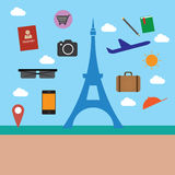 Eifel tower and object travel Stock Images