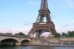 Eifel Tower from the Seine Stock Images