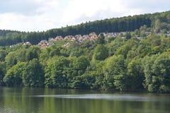Eifel w Niemcy z domami Zdjęcie Royalty Free