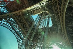 Eifell tower. Under eifell tower with sun shine Royalty Free Stock Photo