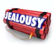 Eifersucht-Wort-Neid-Groll-Zeitbombe-explosive Ärger-Gefahr Lizenzfreies Stockfoto