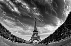 Eiffel 1. Eiffel tower,photograph fish eye Stock Images