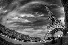 Eiffel 2. Eiffel Tower,photograph in Paris fish eye Royalty Free Stock Images