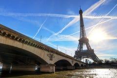 Eiffel backlit bridge Stock Photo