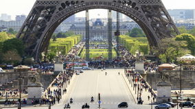Eiffel base Timelapse stock footage