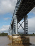 Eiffel bridge over the Dordogne river. Built in 1833, destroyed during the German retreat in 1944, rebuilt in 1947 Stock Images