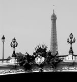 Eiffel contrast. Black and white composition of Eifel Royalty Free Stock Photo
