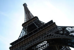 Eiffel. Diagonal view of Eifflel tower in Paris, France Royalty Free Stock Image