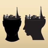 Eiffel en la cabeza Fotografía de archivo