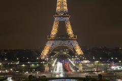 eiffel France noc Paris wierza Zdjęcia Stock