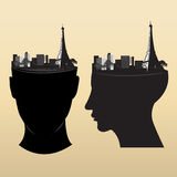 Eiffel on head. Design icon Stock Photography