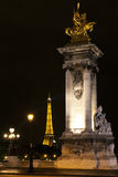 башня eiffel III paris моста Александра Стоковые Фотографии RF