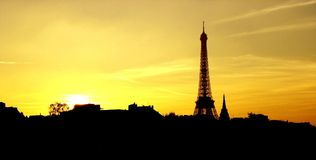 Eiffel from Invalides. Sunset on Eiffel Tower taken from Pont des invalides stock photo