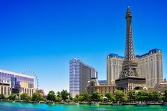 Eiffel in las vegas strip in summer day Royalty Free Stock Images